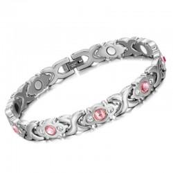 Käevõru hõbedane roosade kristallidega, magnet- germaanium-infrapuna ESTONIA