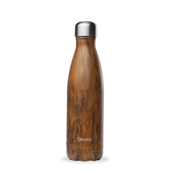 INSULATED STAINLESS STEEL THERMO BOTTLE, WOOD BROWN, 500ML QWETCH